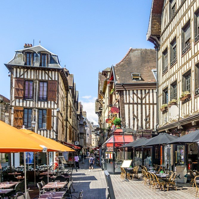 Half timbered medieval houses at market square in Troyes, Aube, France